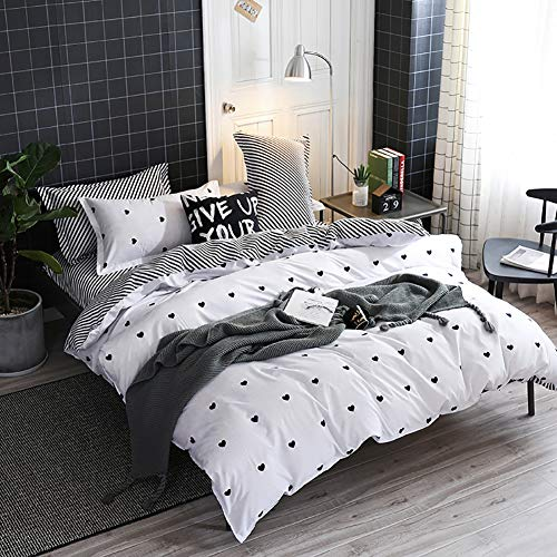 Omelas Kids Heart Love Queen Duvet Cover Set Black and White Teens Girls Lovely Heart-Shaped Pattern Striped Reversible Full/Queen Bedding Soft Breathable Quality Brushed Microfiber (3 Pcs,XD,Q) (Bedding And Double Sets Black White)
