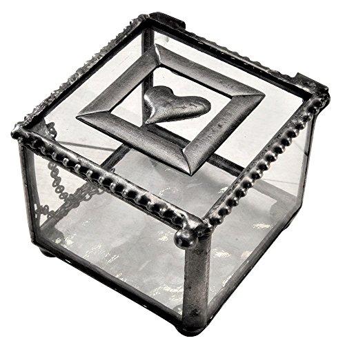J Devlin Box 622 Metal and Glass Jewelry Keepsake Box Heart Accent Gift for Her Ring Bearer Box Wedding Engagement Valentine Gift Beaded Heart Trinket Box