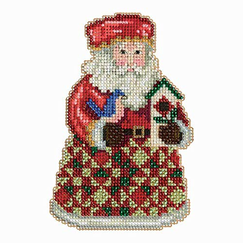 (Mill Hill Christmas Santa Ornament Counted Cross Stitch Kit w/ Glass Beads Cozy Christmas JS203104)