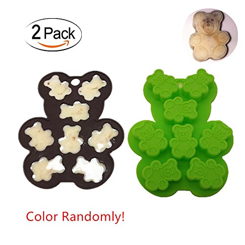 2 Pack Teddy Bear Hard Candy Silicone Mold | Fondant and Gum Paste Mini Baking Mold For Cake Decorating, BPA Free