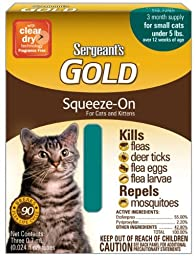 Sergeant\'S Gold Flea And Tick Squeeze-On Cat Under 5-Pound( Pack of 3 )