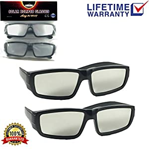 Plastic Solar Eclipse Premium Viewing Glasses (2 Pack) – Comfortable & Durable Sun Protection Shades – CE & ISO Certified – Fits Adults & Most Kids - Perfect For Coming Solar Events