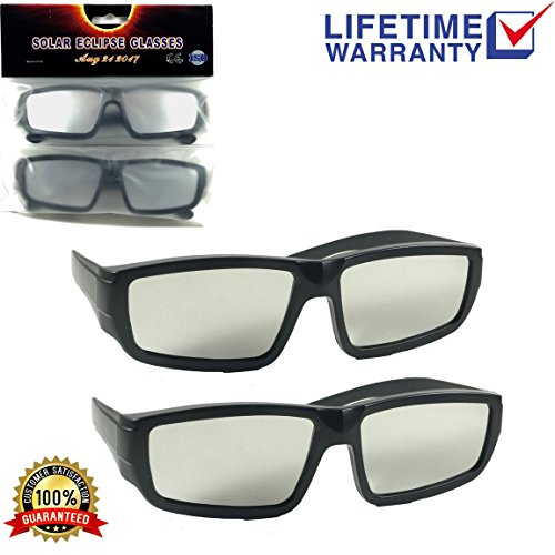 Plastic Solar Eclipse Premium Viewing Glasses (2 Pack) – Comfortable & Durable Sun Protection Shades – CE & ISO Certified – Fits Adults & Most Kids - Perfect For Coming - Custom Clip Made Sunglasses On