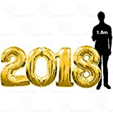 Arts & Crafts : 40 Inch 2018 Giant Jumbo Helium Foil Mylar Balloons Banner for Graduation Party Decorations (Premium Quality), 100 cm, Glossy Gold