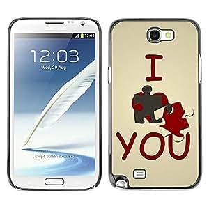 TopCaseStore / la caja del caucho duro de la cubierta de protección de la piel - I love you Cute - Samsung Galaxy Note 2 N7100