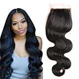 Cheap Bestsojoy 10A Body Wave Peruvian Virgin Human Hair 4×4 Free Part lace closure Natural Black Peruvian Body Wave Human Hair Lace Closure No Bleached Knots(12″ closure)