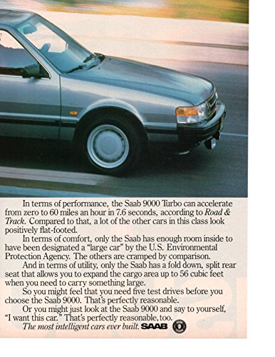 Magazine Print Ad: Silver 1987 Saab 9000 Turbo, 2 pages,
