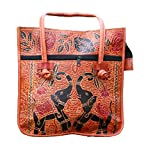 Handmade Leather Elephant- Camel Embroidered Ethnic Vintage Tribal Camel color Shoulder Bag Purse