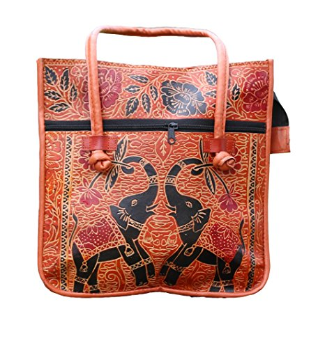 Handmade Leather Elephant- Camel Embroidered Ethnic Vintage Tribal Camel color Shoulder Bag Purse by Lonika Collections