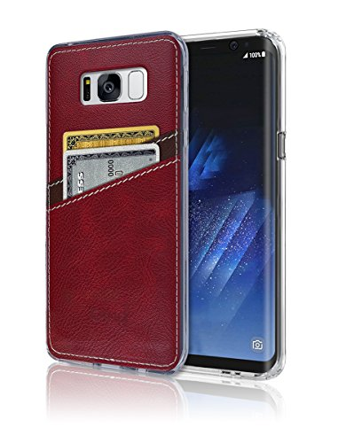 - S8 Plus Case [Leather Back Cover] [Wallet Case] [2 Card Holder] S8 Plus Soft Slim Fit Hybrid Polyurethane TPU Flexible Bumper Lightweight Shock Absorbing Protection for Samsung Galaxy S 8 Plus (Red)