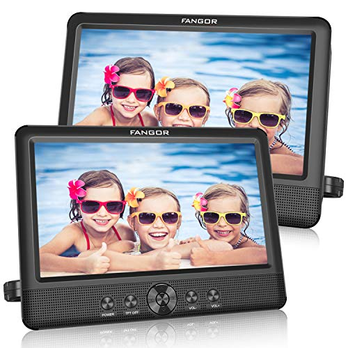 FANGOR 10.5 Dual DVD Player for Car Portable Headrest Video Players with 2 Mounting Brackets, 5 Hours Rechargeable Battery, Last Memory, USB/SD Card Reader, AV Out&in ( 1 Player + 1 Screen ) (2 Portable Dvd Screens Player)