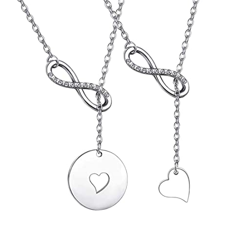 8af249640b2 Zuo Bao Mother and Daughters Necklace Set Mother Daughter Lariat Y Necklace  (Silver-1