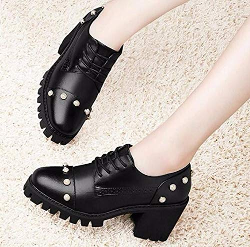 Soft SFSYDDY With Female Lovely Trend Shoes Autumn grey Tie Rough Round Port Early Day 39 Leather Girl College Small Head Breeze Retro ESxFrTqcwS