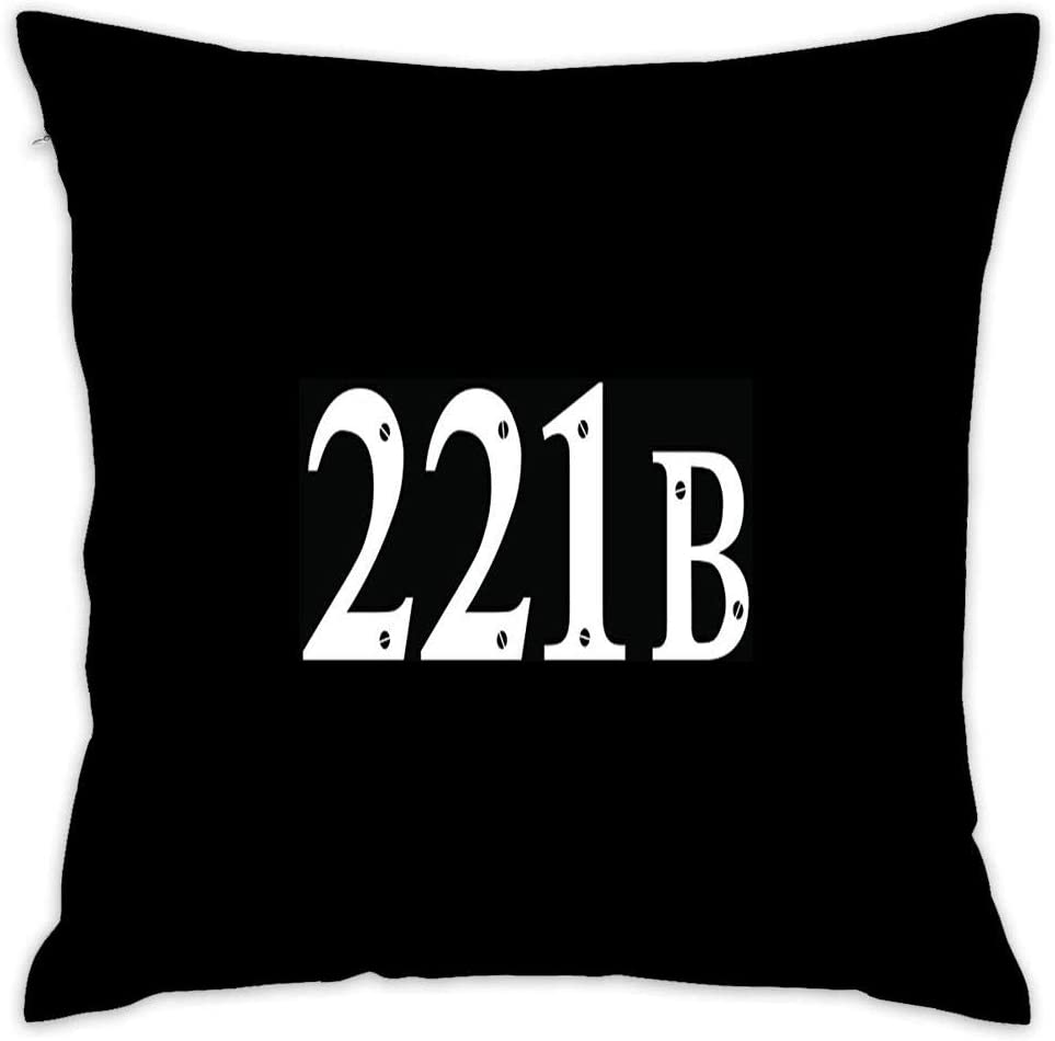 221B Sherlock Holmes Address Decorative Cotton Square Throw Pillow Case Cover 18x18 Inch Cushion Slipcover Home Decor Pillowcase Cover