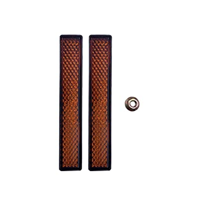 BAR Autotech M5 Nut Screw-Mount Rectangular Reflectors-Safety Spoke Reflective Quick Mount Custom Accessories Screw Reflector for Cars, Trailer, Motorcycle, Trucks, Boat, Bicycle (Amber, 2 PCS): Automotive