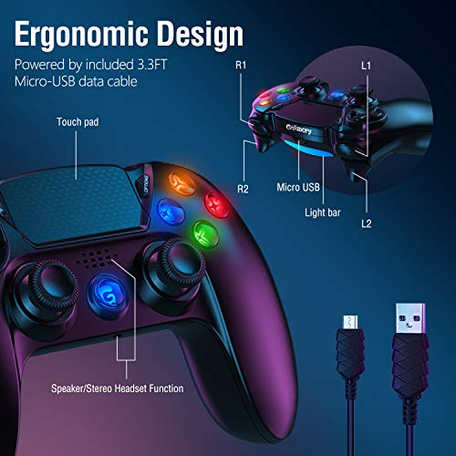 Controller for PS4 Gamory Wireless Controller for Playstation 4/Pro/Slim with Shining Buttons,Touch Panel,Speaker & Stereo Headset Jack,Dual Vibration,Motion Control,Remote Controller for ps4 Black