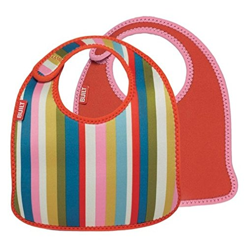 Built 2 Piece Mess Mate Infant Bib, In Baby Pink Stripe (Bib Baby Phillies)