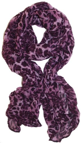 LibbySue-Animal Print Crinkle Leopard Scarf Lightweight in Purple