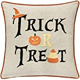 Homey Cozy Trick or Treat Throw Pillow Cover,Large Premium Embroidery Halloween Decorative Pillowcase 20x20, Cover Only