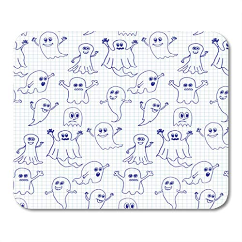 Semtomn Gaming Mouse Pad Sketch Cute Halloween Ghosts on Doodle Autumn Cartoon Celebrate 9.5