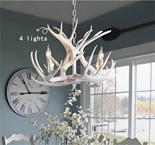 TOYM US- Antler chandelier vintage American country living room restaurant bar sets creative Mediterranean Villa garden lights ( Color : 4 Lights )