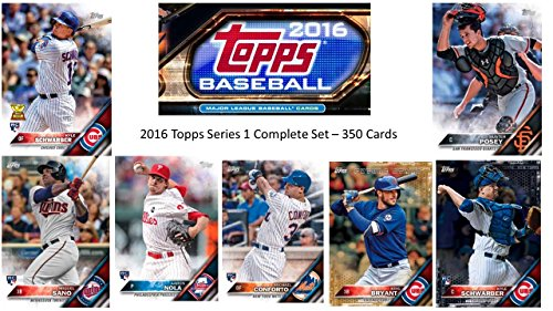 2016 Topps SERIES 1 COMPLETE BASE SET 350 Cards Includes top rookie cards (RC) of KYLE SCHWARBER, MICHAEL CONFORTO, AARON NOLA, MIGUEL SANO, COREY SEAGER and many more!