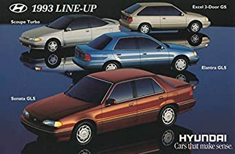 1993 Hyundai Sonata Elantra Scoupe Excel ORIGINAL Factory Postcard at Amazons Entertainment Collectibles Store