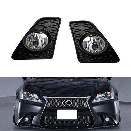 iJDMTOY Complete Set Fog Lights w/ JDM GS-F Foglamp Garnish & Univesal On/Off Switch, Wiring Harness For 2013-2015 Lexus GS350 GS460 GS450h