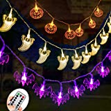 Diojilad Halloween Fairy String Lights Set of 3 Battery Operated Halloween Decor Lights Orange Pumpkins Bats Ghosts 30 LEDs Each for Halloween Party Decorations Outdoor Indoor with Remote Control