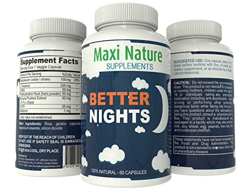 Better Nuits complète Organic Natural Herbal Sleep Aid des troubles du sommeil Mélatonine 1mg pilules L théanine 200mg Gaba 5-htp Complex Supplément Sommeil Profond Herbal Relax combattre le stress et l'insomnie Cure Better Sleep Medicine Phellodendron Ra