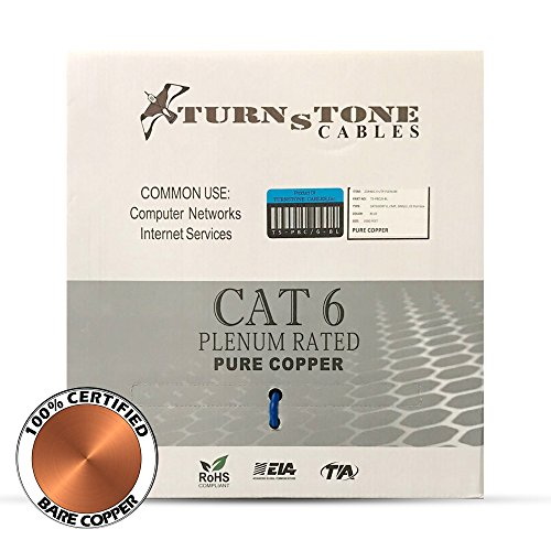 CAT6 Plenum Cable Pure Copper 1000ft bulk Ethernet Network wire - Blue by Turnstone Cables