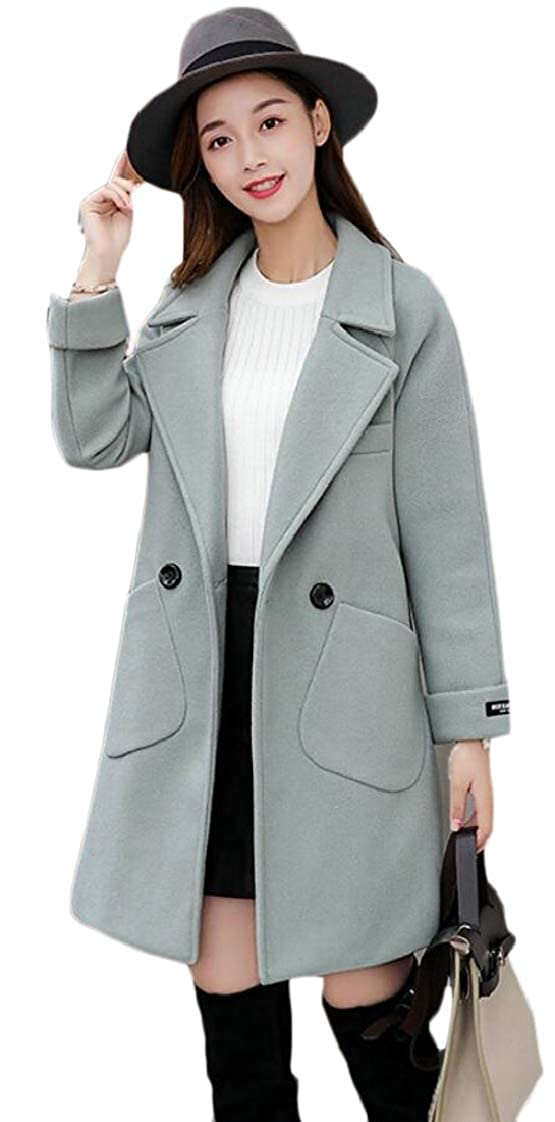2 Esast Women's Double Breasted Wool Blend Pea Coats Overcoat