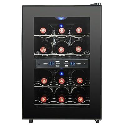 AKDY 12 Bottles Dual Zone Black Finish Reversible Doors Push Button Electric Wine Cooler Cellar
