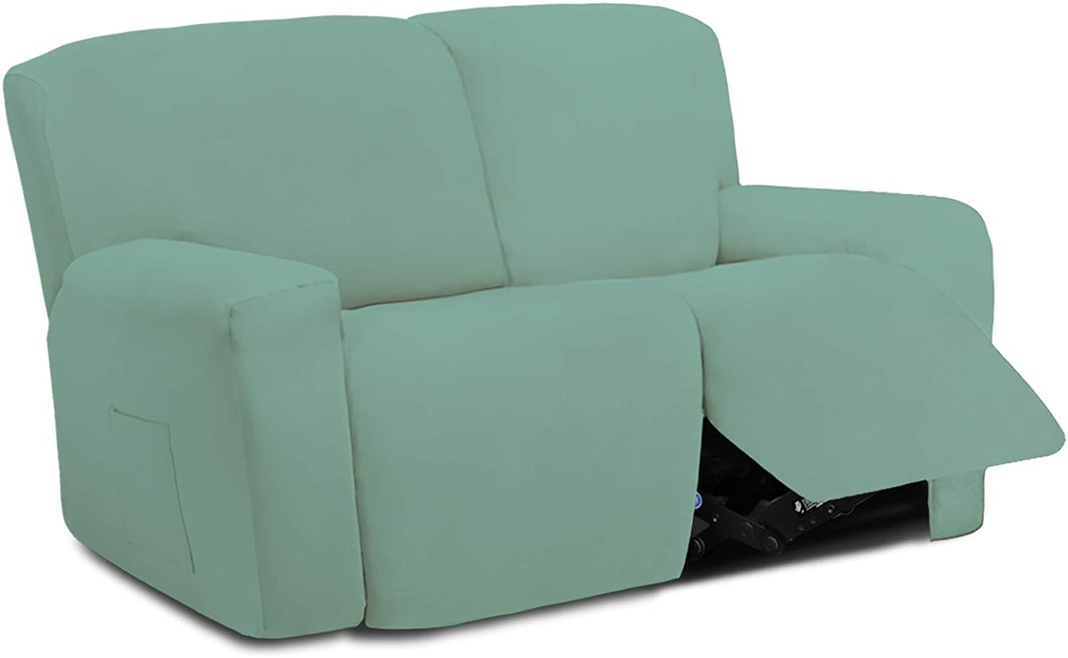 Easy-Going 6 Pieces Microfiber Stretch Sectional Recliner Sofa Slipcover Soft Fitted Fleece 2 Seats Couch Cover Washable Furniture Protector with Elasticity for Kids Pet(Recliner Loveseat, Cyan)