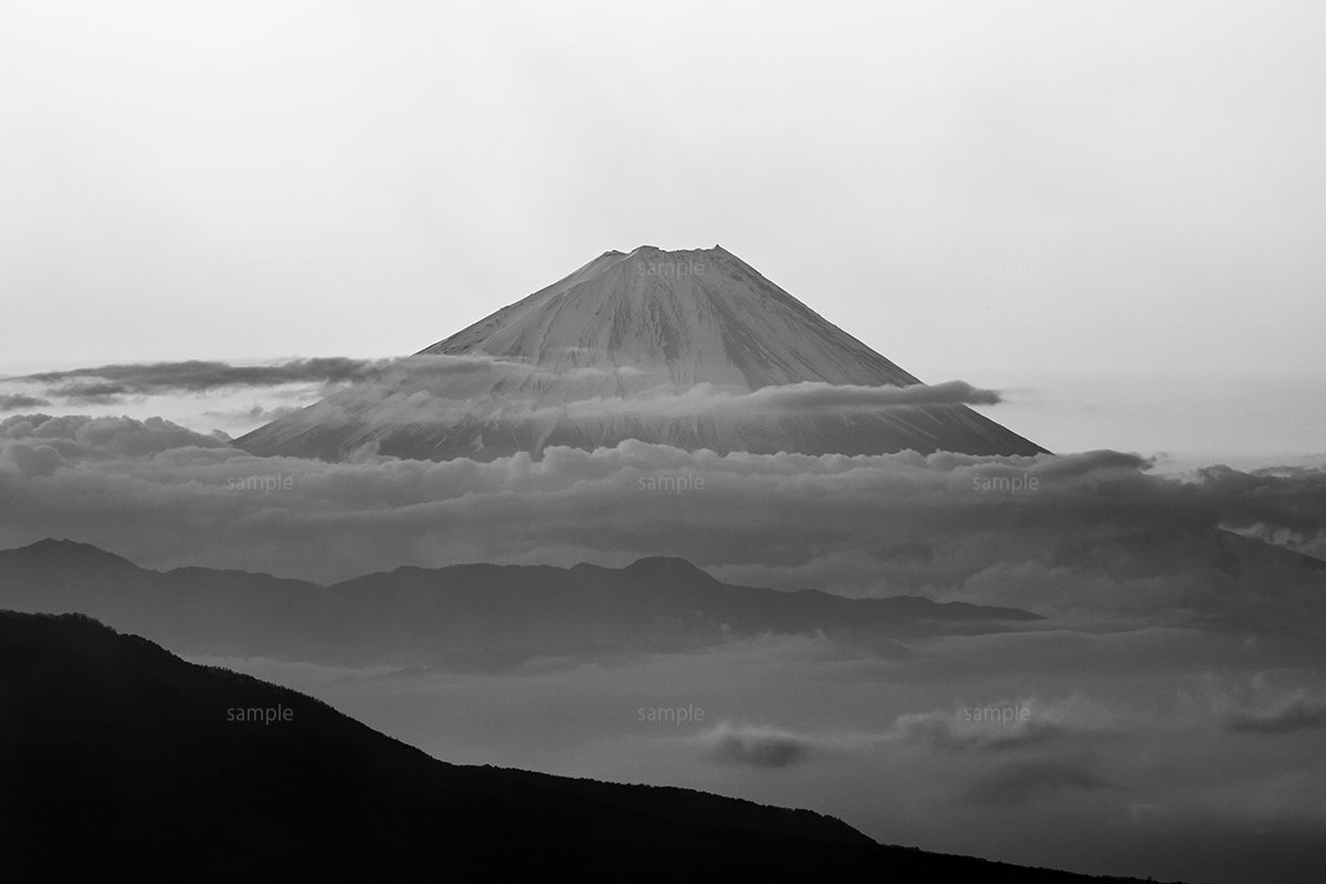 Mt fuji morning cloud sea silhouette black and white picture japan landscape wall art the picture for home decoration a3 11 69x16 54 inches and eirakuya