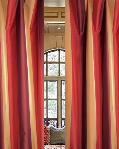 (Juniper Striped Faux Silk Taffeta Living Room Window 52