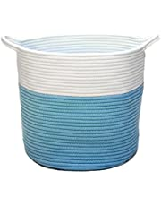 VELABEE Cotton Rope Basket - Woven Storage Basket for Throws Laundry and Toys