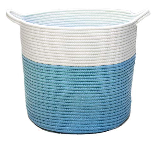 VELABEE Cotton Rope Basket - Woven Storage Basket for Throws Laundry and Toys ()