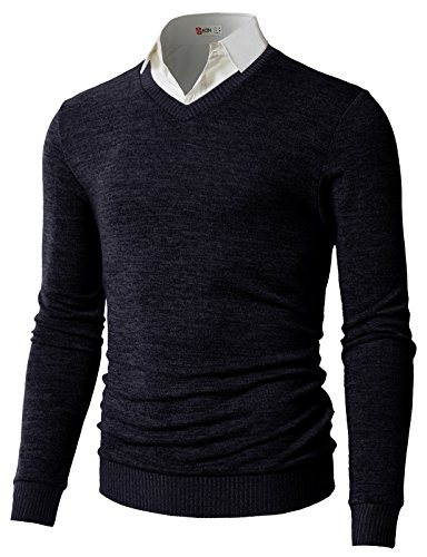 V-neck Wool Blend Cardigan (H2H Men's Regular Wool Blend Solid Crew Neck Sweater Pullover Navy US S/Asia M (CMOSWL018))