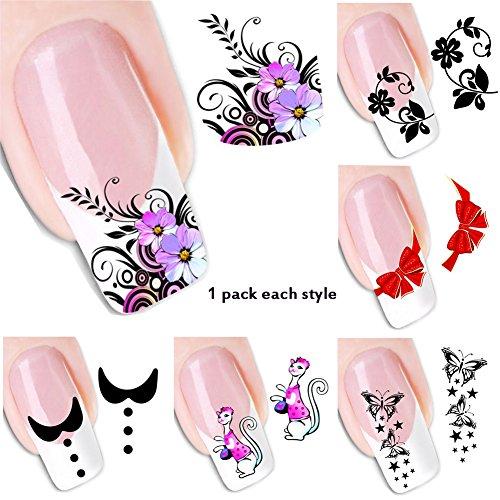 8 Pcs Water Transfer Sheet Nail Art Sticker Decal Beauty Tips Decoration - 2