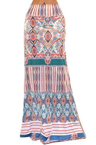 Vivicastle Women's Colorful Printed Fold Over Waist Long Maxi Skirt (Medium, A13, Multi) ()