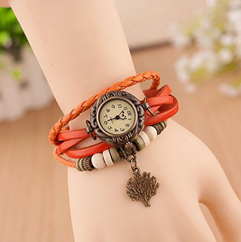 Hosaire Watch Bracelet Vintage Multilayer Weave Wrap Around Leather Chain Bracelet Quartz Wrist Watch with Tree Pendant for Women Men White by Hosaire (Image #5)