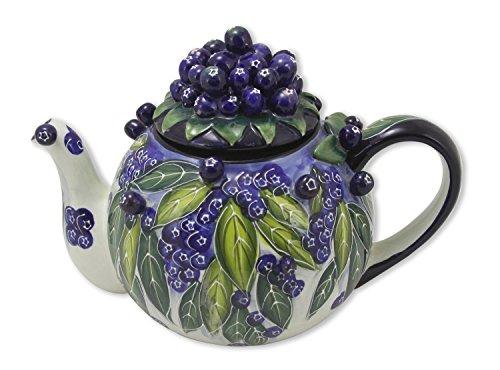Blue Sky Ceramic Blueberry Teapot, 10 x 6.5 x 7