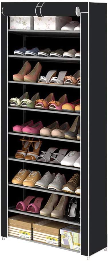 U-Kiss 10 Tiers Shoe Rack with Dustproof Nonwoven Fabric Cover Closet Shoe Storage Cabinet Organizer Portable Space Saving Shoe Storage Organizer for Closet (10-Layers 9 Lattices-Black)