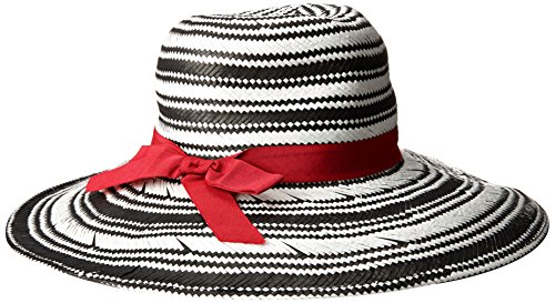 physician-endorsed-womens-sanibel-two-tone-packable-fedora-with-stripe-ribbon-black-red-one-size