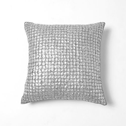 Best Home Fashion Mother of Pearl Pillow - Insert Not Included - Silver - 14