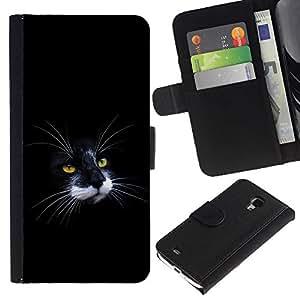 Estuche de Cuero Billetera del tirón Tarjeta de la Bolsa Titular de Suave Caso para Samsung Galaxy S4 Mini i9190 MINI VERSION! / CECELL Phone case / / Black & White Cat Nose Moustache /