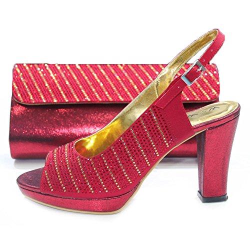 Wear Da Uk Scarpe Rosso Con Coordinata Sposa Mobi Per amp; 10 W bordeaux Donna Walk 4 Eddy Borsa Cristalli EqIFcIrwzR