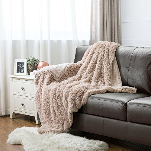 """Price comparison product image Faux Fur Throw Blanket PV Fleece Bed Throws 50""""x60"""" Solid Camel, Super Soft & Warm, Reversible with Flannel, Shaggy Fuzzy Fur Bed Blankets by Bedsure"""