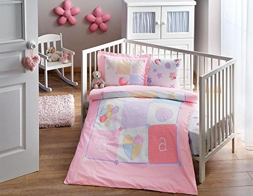 DecoMood Daisy, 100% Organic Cotton Soft and Healthy Nursery Crib Bedding Duvet Cover Set for Baby Girls, 4 Pieces by DecoMood